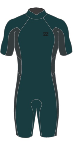 ABSOLUTE BACK ZIP 2/2 SHORTY BLACK/TURQUOISE